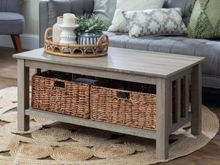 40 inch Coffee Table with Wicker Storage Baskets   Driftwood Retail 169 49