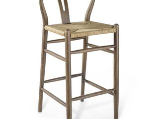 Amish Wood Bar Stool in Gray