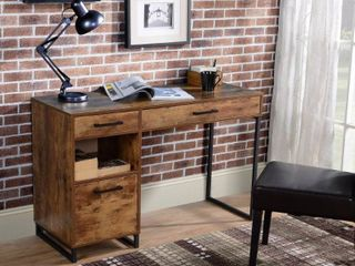 Rustic Wood Finish 3 Drawer Computer Desk With Metal legs