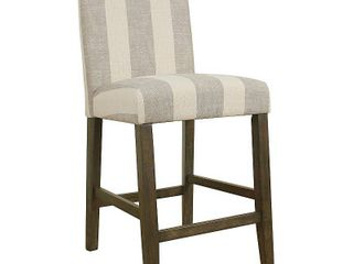 HomePop Curved Back 24  Counter Stool   Grey Stripe   24 inches