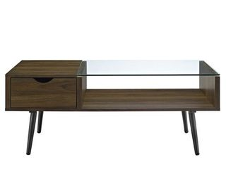 42  Wood and Glass Coffee Table   Dark Walnut