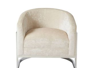 Madison Park Mateo Cream  Chrome Accent Chair