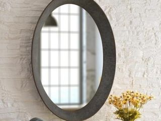 KenroyHome Genevieve Galvanized 37 Inch Height Oval Frame Wall Mirror