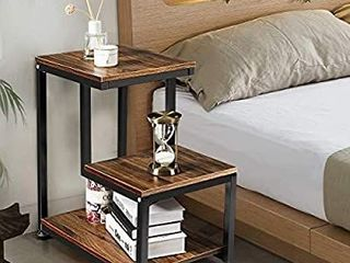 Sofa End Table  3 Tier Nightstand with Storage Shelf  Sturdy Metal Frame