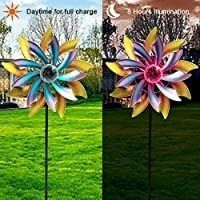 MAGGIFT 57 Inch Solar Wind Spinner with Metal Garden Stake  Multi Color Changing lED Solar Powered Glass Ball  Outdoor Wind Catcher Yard Patio Christmas Holiday Decoration