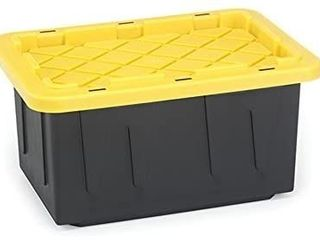 Homz 15 Gallon Durabilt Tough Tote  Black w Yellow lid  Stackable  6 Pack