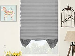 SUNFREE 2 Pack 48 x 72 inch Grey Temporary Shades Cordless Blinds Fabric Room Darkening Pleated Window Shades
