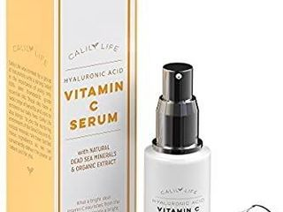 Calily life Hyaluronic Acid Vitamin C Serum with Dead Sea Minerals  1 Oz  a Deeply Hydrates  Enrichens  Strengthens and Nourishes Skin  Restores Youthful Glow 2 Pack