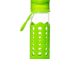 KitchenPalz Glass Water Bottle with Protective Silicone Sleeve 2 Pack