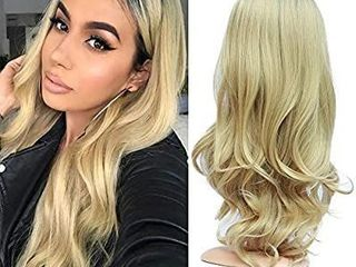 Blonde Ombre Black Roots Natural Body Wave Soft Hair Synthetic Full Wig for Women Natural looking Middle Part Wig Machine Made 26 inches