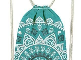 Miomao Drawstring Backpack Gym Sack Pack Christmas Style String Bag With Pocket Canvas Sinch Sack Sport Cinch Pack Christmas Gift Bags Beach Rucksack 13 X 18 Inches hunter green