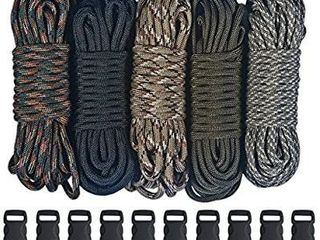 Paracord 550 Kit   Five Colors  Olive Drab  ACU  Woodland Camo  Desert Camo    Black  100 Feet Total with Black Side Release Buckles