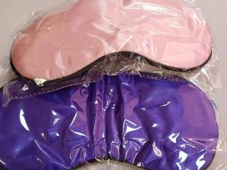 AHK Silk Sleep Masks   Real Silk    Ear Plugs Included   2 Pcs   Pink and Purple