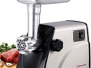 Sunmile SM G33 Electric Meat Grinder   1HP 800W Max Power   ETl Stainless Steel Meat Grinder Mincer Sausage Stuffer   Stainless Steel Blade and Plates  1 Sausage Maker