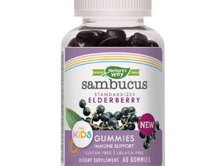 Nature s Way Sambucus Elderberry Kid s Gummies  Black Elderberry  Vitamin C   Zinc  60 Ct