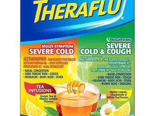 Theraflu Multi Symptom Severe Cold Day Night Powder   Acetaminophen   Green Tea Honey lemon   6ct 2pk