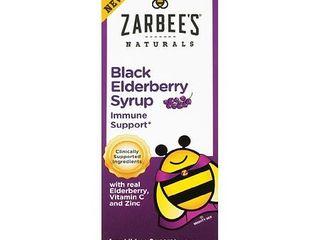 Zarbee s Naturals Children s Black Elderberry Syrup with real Elderberry  Vitamin C  and Zinc  4 Fl  Ounces  1 Box