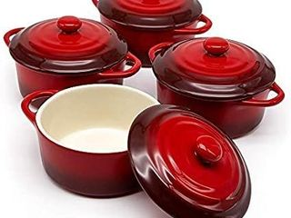 12oz Mini Cocotte  by Kook  Casserole Dish  Dutch Oven  Ceramic Make  Easy to lift lid  Crimson Red  Set of 4