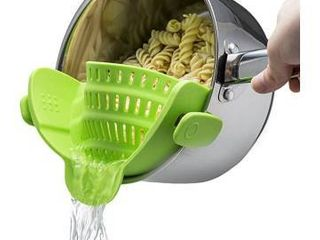 Kitchen Gizmo Snap N Strain Strainer  Clip On Silicone Colander  Fits all Pots and Bowls   lime Green