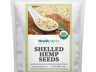 Healthworks Shelled Hemp Seeds Organic  32 Ounces   2 Pounds    Premium   All Natural   Canadian or European Sourced   Contains Omega 3   6  Fiber and Protein   Great with Shakes  Smoothies   Oatmeal