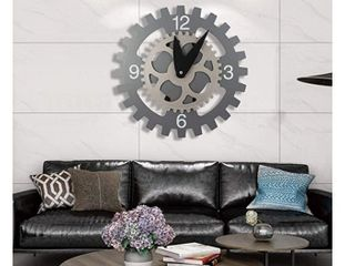 AHUA Smart 3D Gear Mechanical Clock Gear Wall Clock  Big Wheel Hour Wall Clock  Vintage Industrial Wheel Wall Background Decoration  14  Modern Silent Non Ticking Wall Clock   Silver Sawtooth Wheel