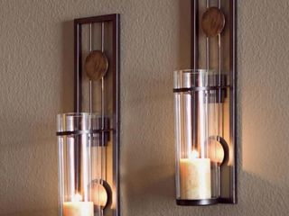 Contemporary Metal Brown Wall Candle Sconces with Antique Patina Medallions