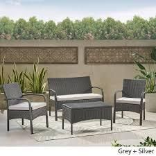 Cordoba Outdoor Wicker 4 piece Conversation Set with Cushions by Christopher Knight Home  452 99