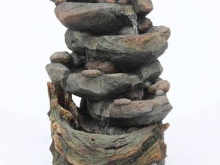 Resin 28in  H Cascading Rock Outdoor Fountain  Retail 228 49