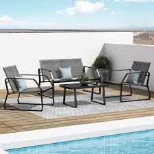Corvus Yorkdale 4 piece Outdoor Sling Fabric Conversation Set  Retail 327 49 dark gray with grey finish