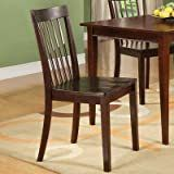 Warm Cherry Slat back Wooden Dining Chairs  Set of 2    Retail 128 00