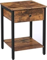 2 Tier Industrial End Table Side Table with Storage Shelf with Metal Frame brown sku g666g13002278