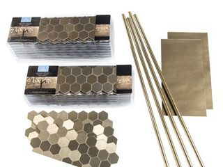 Aspect 12x4 inch Honeycomb Champagne Matted Metal 15 Square Foot Kit  Retail 211 99