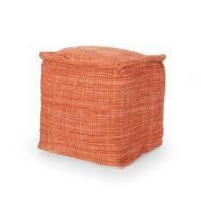cadence yarn pouf square orange
