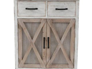 Rustic Wood Barn Door Storage Cabinet  Retail 246 49