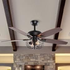 Industrial 52 in Wooden 5 Blades 2 light Ceiling Fan with Remote  Retail 139 99