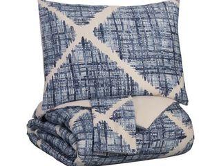 Sladen Blue Cream King Comforter Set  Retail 133 49