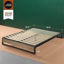 GOOD DESIGN Winner   Priage by Zinus 14 inch Brown Wood and Metal Platforma Bed  Retail 175 99