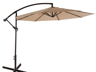 Weller 10  Offset Cantilever Hanging Patio Umbrella  Base Not Included  Retail 137 49