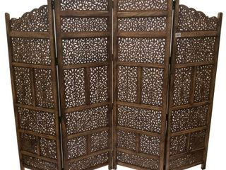 Benzara Hand Carved Foldable 4 Panel Wooden Partition Screen RoomDivider Brown  Retail 397 49