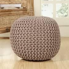 lychee Knitted Cotton Round Pouf Ottoman  Retail 77 48