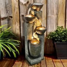 40 inch H Outdoor Faux Stone Water Fountain Garden Waterfall w  lights  Retail 232 99
