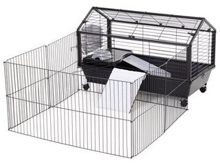 PawHut Rolling Metal Rabbit  Guinea Pig  or Small Animal Hutch Cage with Main House and Run  35  l  Retail 85 99