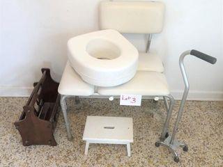 Bath stool, cane, stool riser