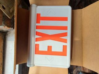 lot of  4  illuminating exit signs  ATTENTION All lOTS BEYOND THIS POINT HAVE A SEPARATE PICKUP lOCATION AND DATE