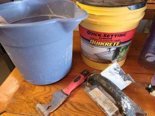 misc lot of 5 tools   quikrete  bucket
