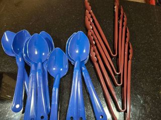 lot of serving spoons   tongs