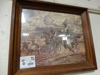 Framed old west print