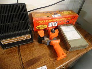 Tape gun  furniture mover set  ticket book