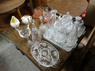 lot of assorted cut glass   misc glassware