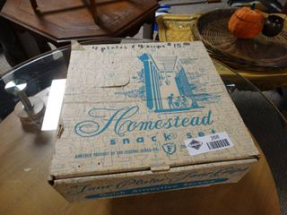 Federal Glass Co  Homestead Snack Set in Box